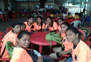 Students are relaxing after winning the first round match